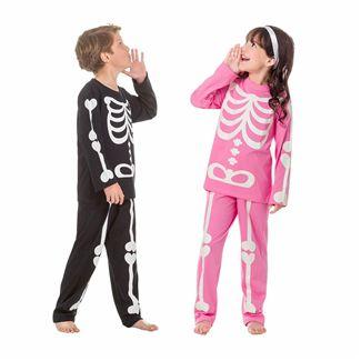 Pijama infantil esqueleto brilha no escuro inverno unissex
