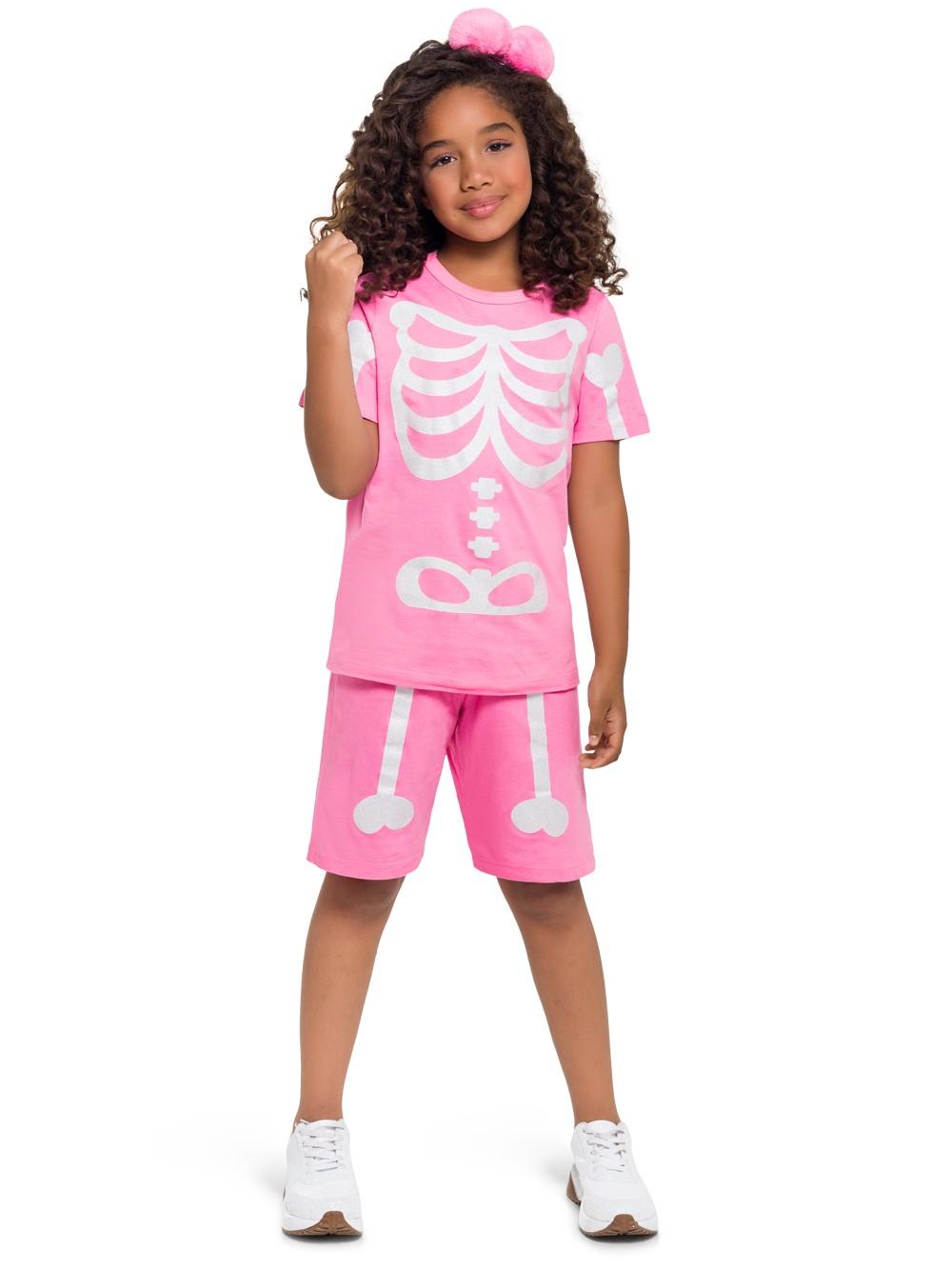 Pijama infantil esqueleto curto calor brilha no escuro unissex