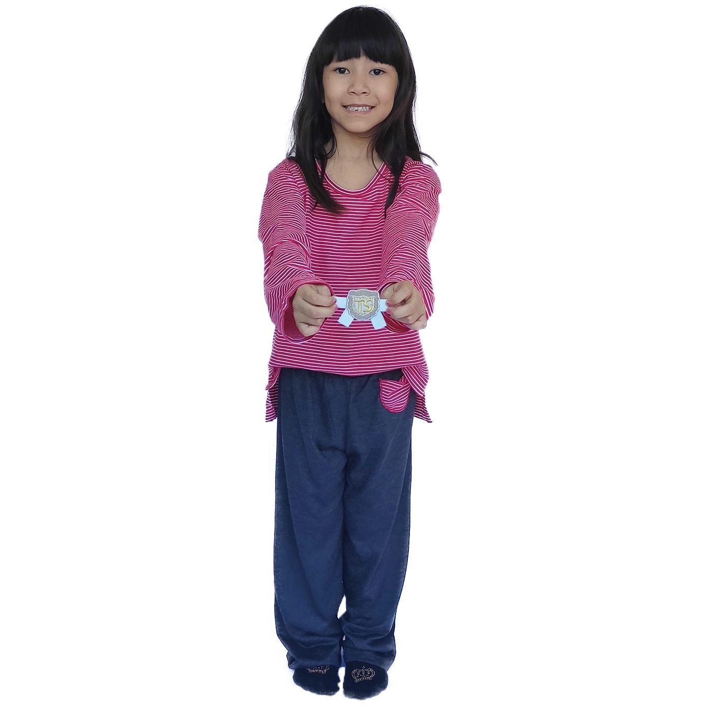 Pijama infantil manga longa calça unissex malha listrada