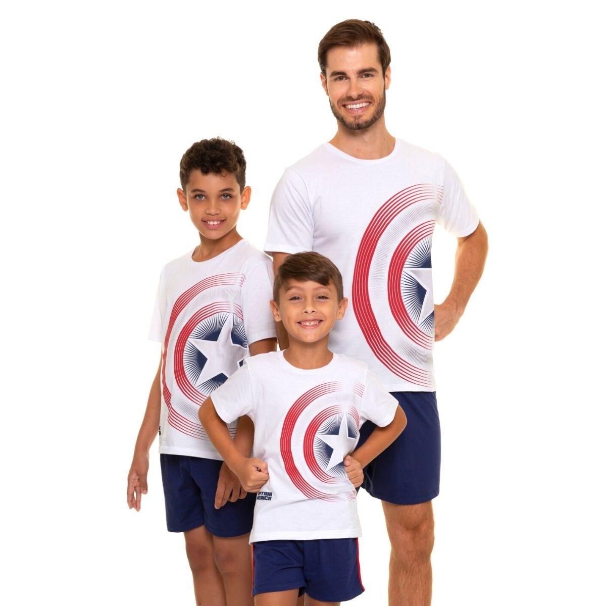 Pijama infantil masculino de verão do capitão america escudo