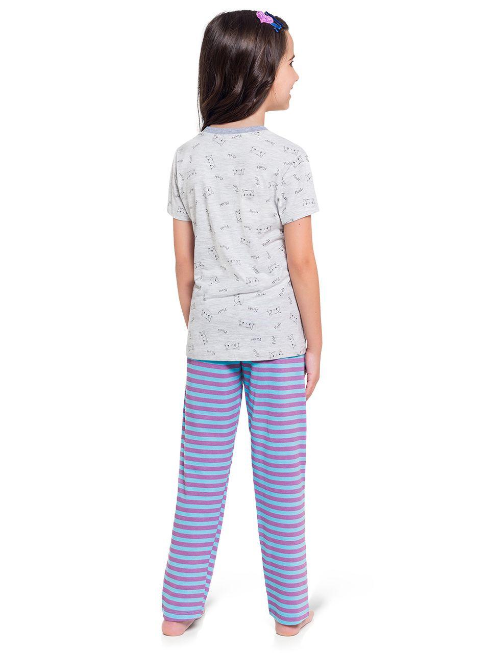 Pijama Infantil Menina 3 Peças Manga Longa Manga Curta Calça