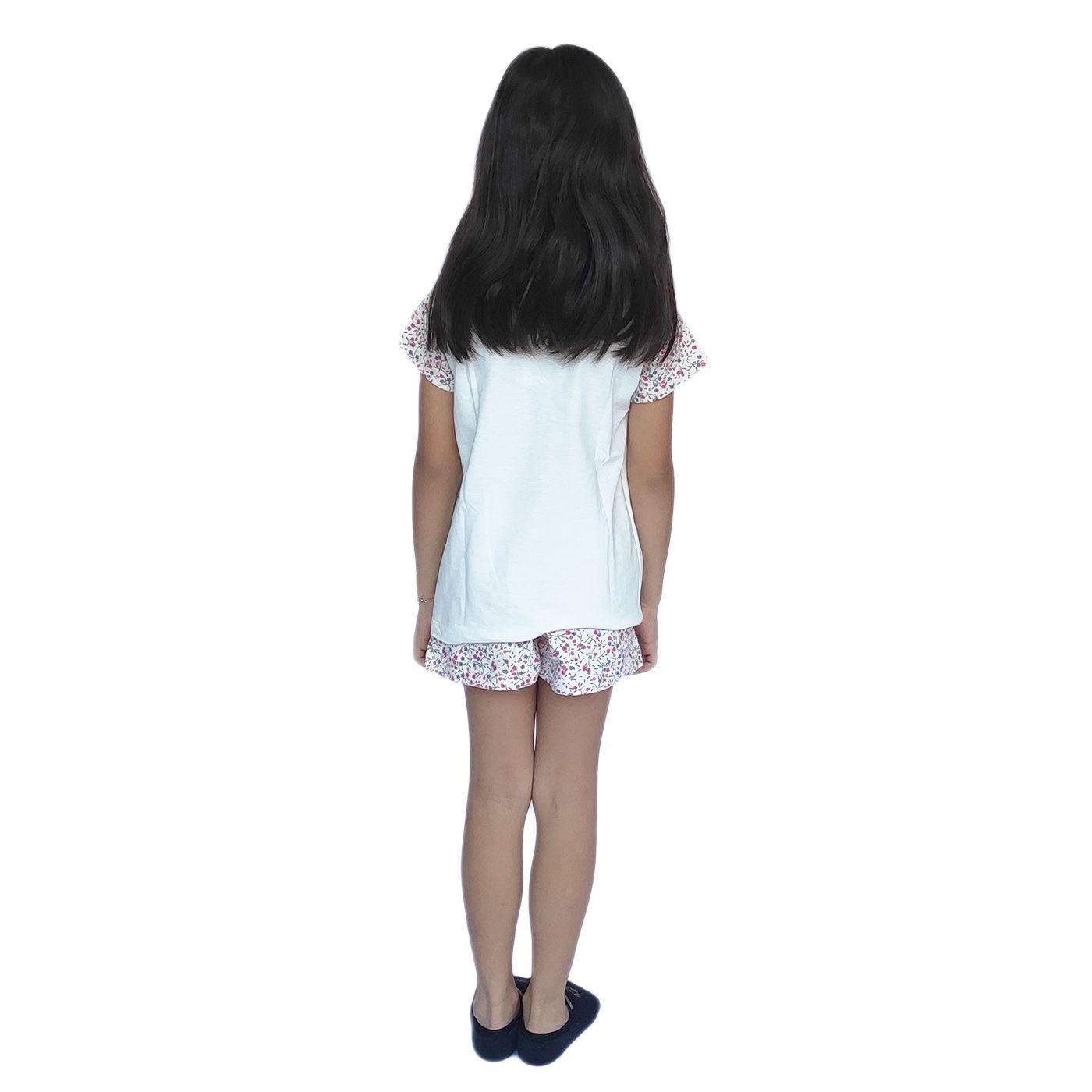 Pijama infantil menina calor short blusa manga algodão