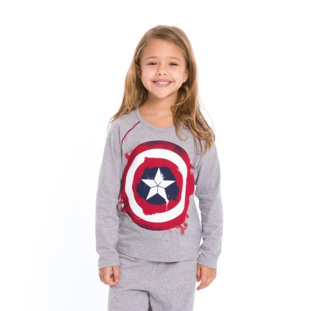 Pijama infantil menina capitã américa manga longa quentinho