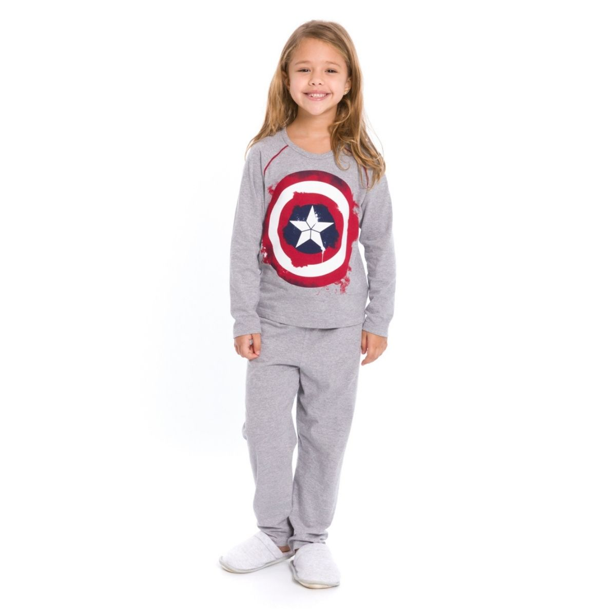 Pijama infantil menina capitã america manga longa quentinho