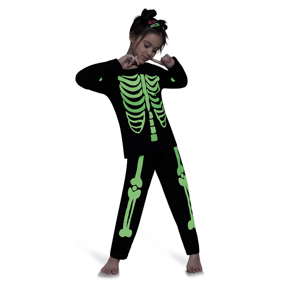 Pijama infantil menina esqueleto colorido brilha no escuro