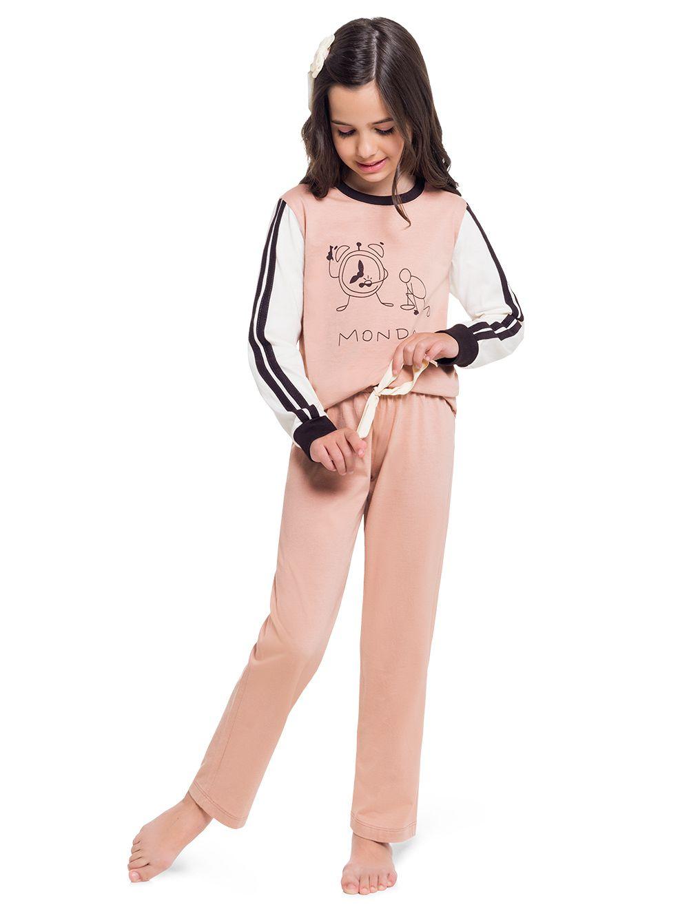 Pijama infantil menina filha malha penteada