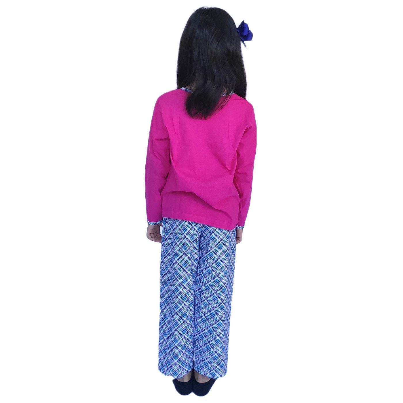 Pijama infantil menina frio brilha escuro xadrez