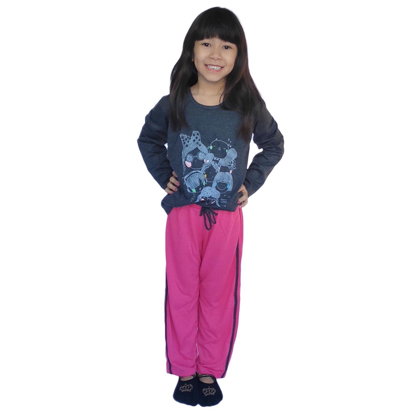 Pijama infantil menina frio manga longa