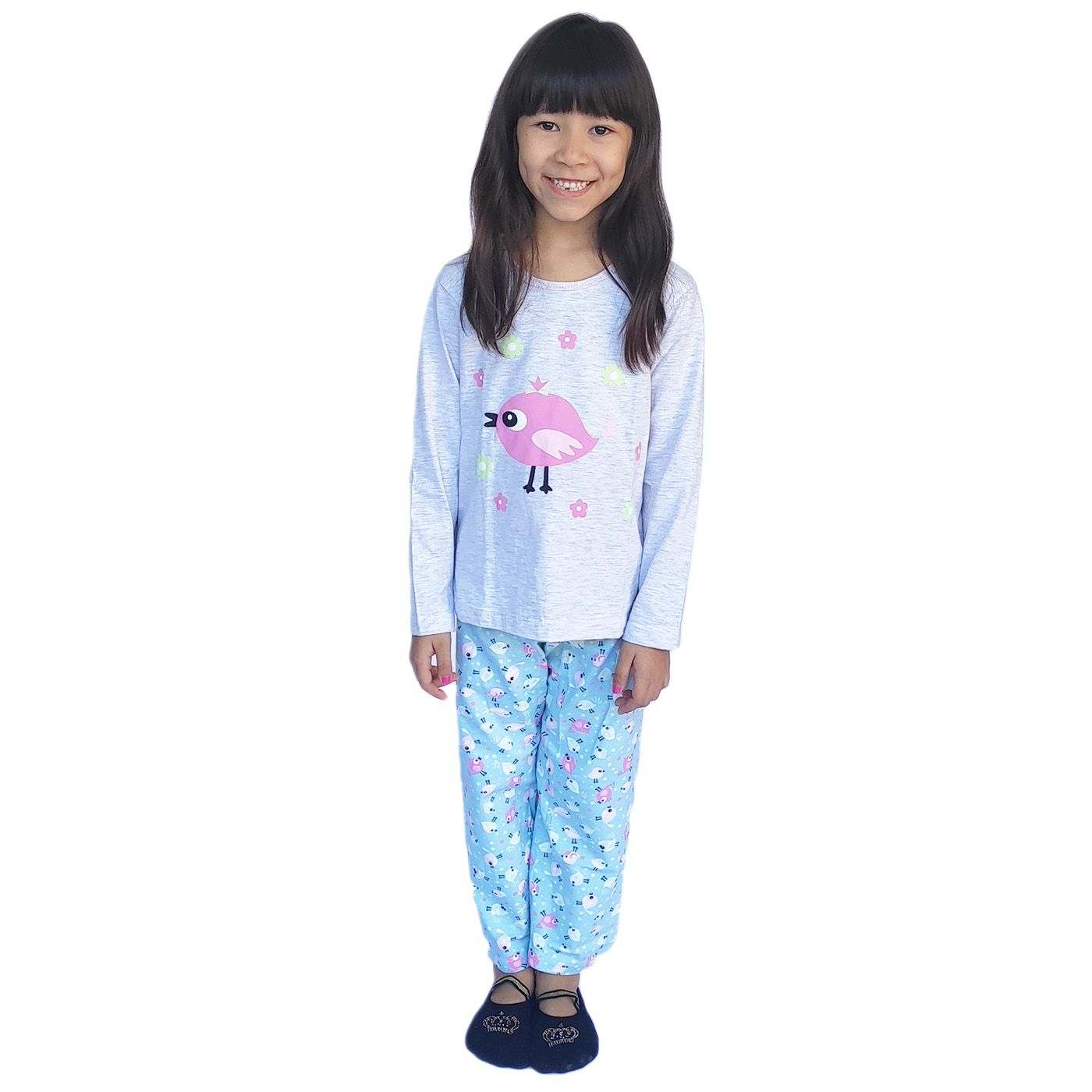 Pijama infantil menina frio manga longa algodão bichinho
