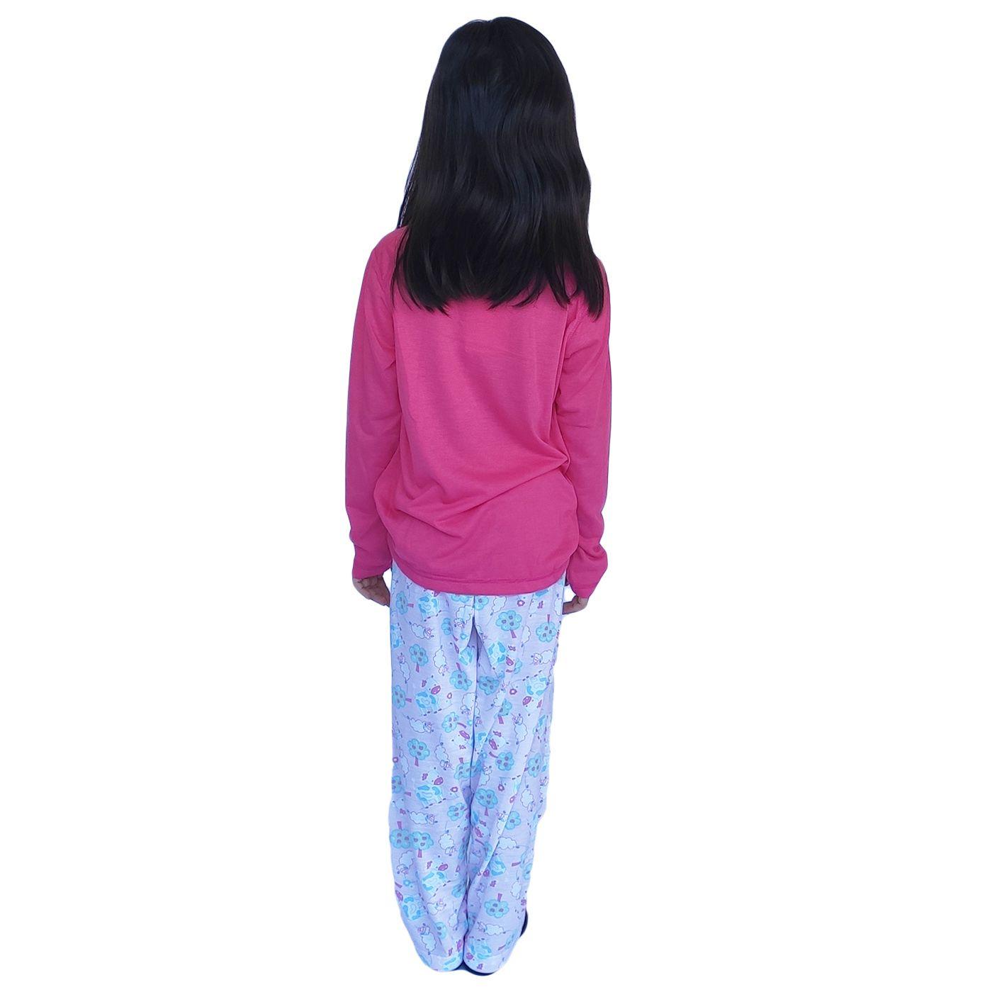 Pijama infantil menina frio manga longa ursinho lacinho