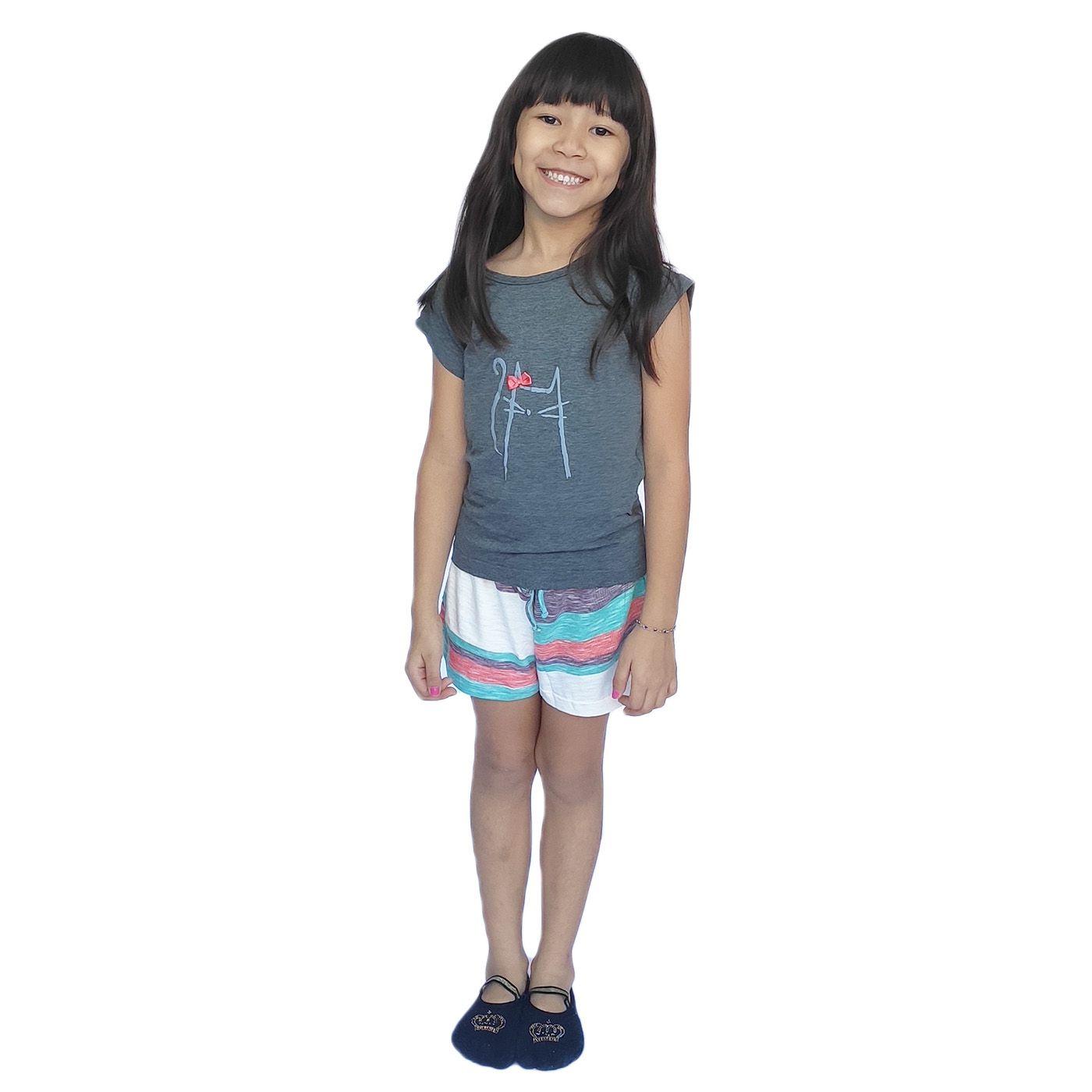 Pijama infantil menina gatinho lacinho short blusa manga