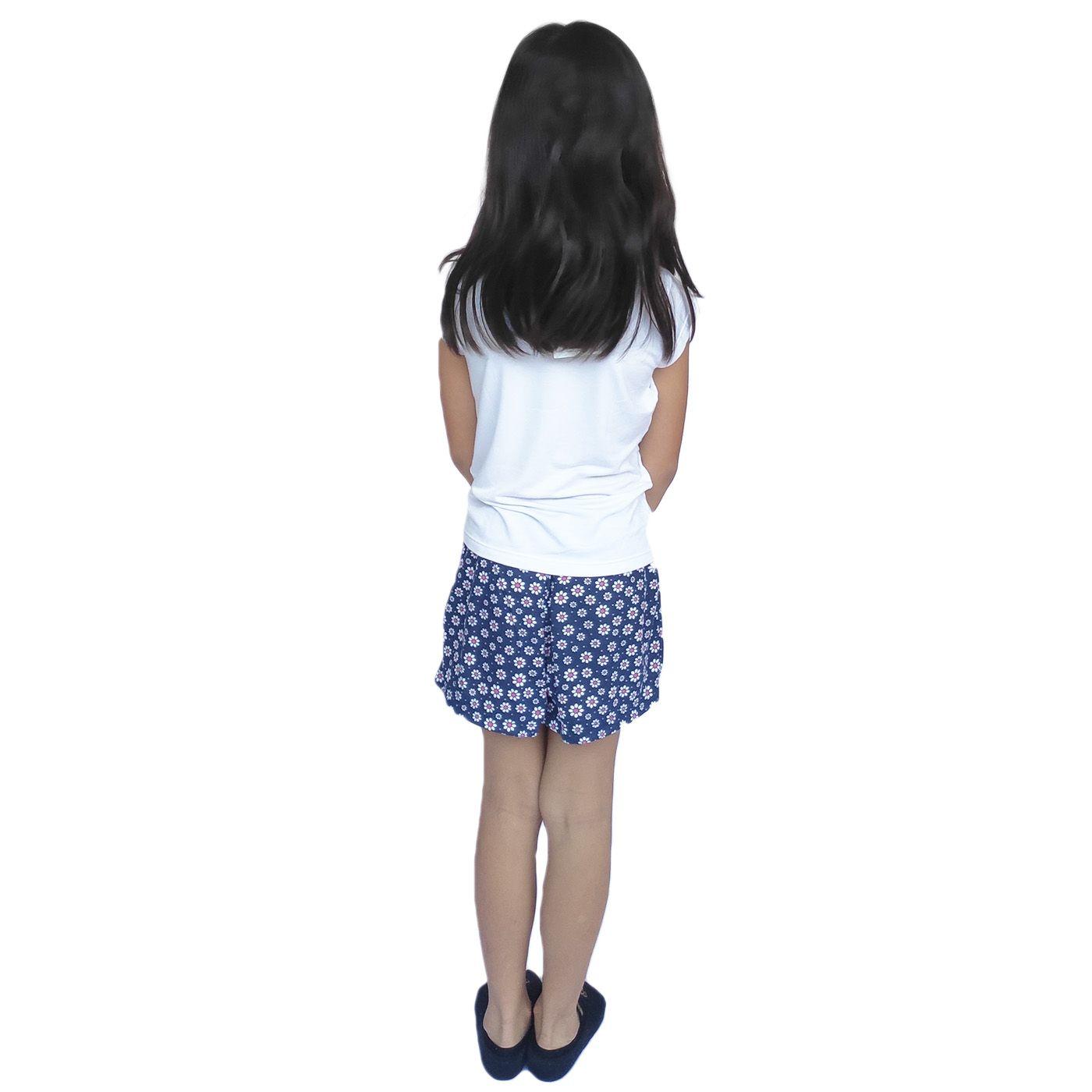 Pijama infantil menina girafa lacinho short blusa manga