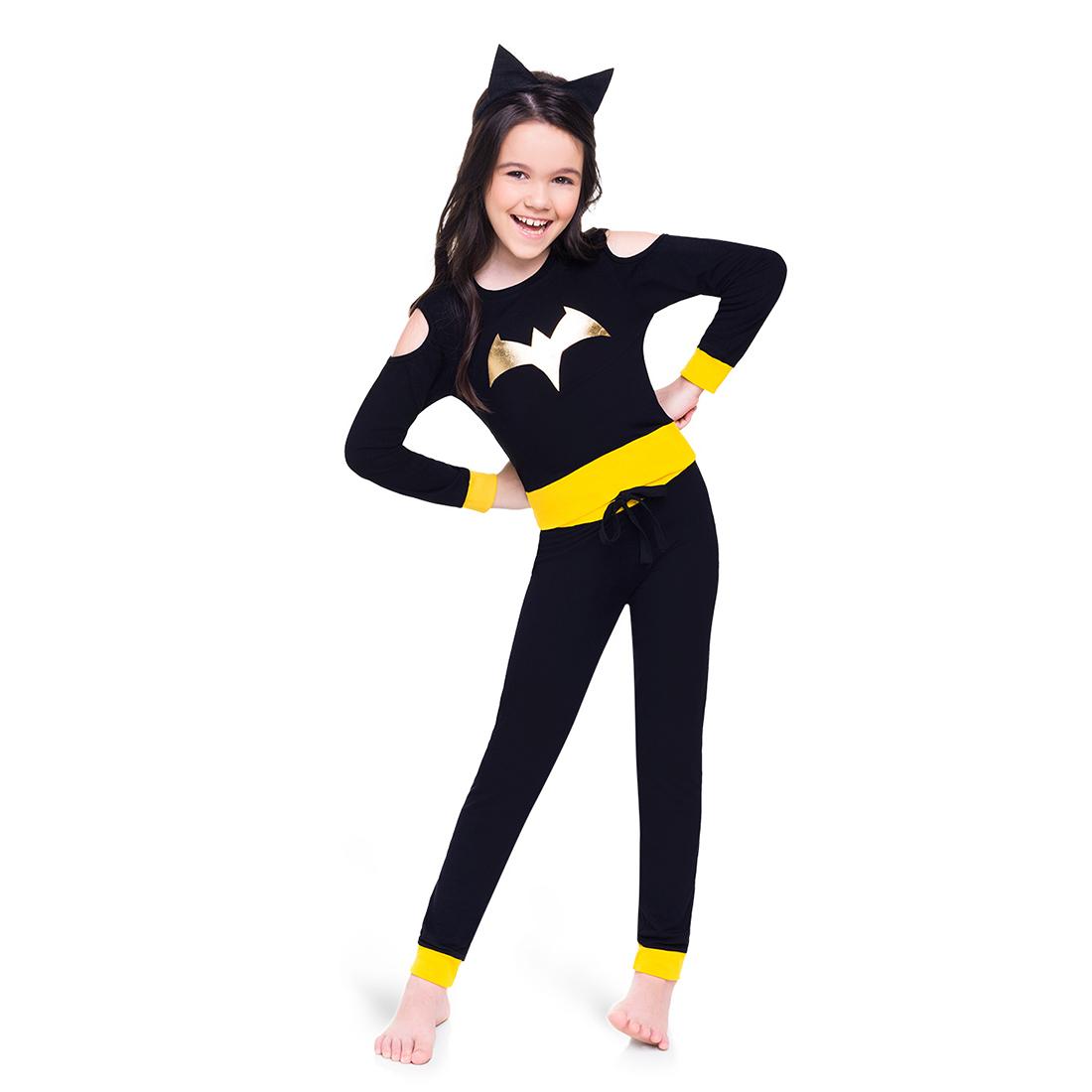 Pijama infantil menina inverno batgirl manga longa acompanha arquinho