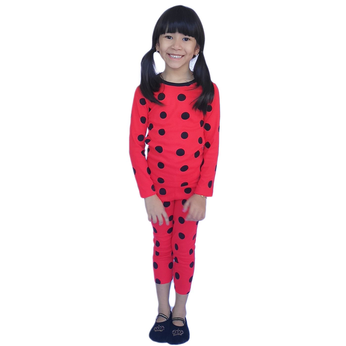Pijama infantil menina ladybug inverno acompanha mascara
