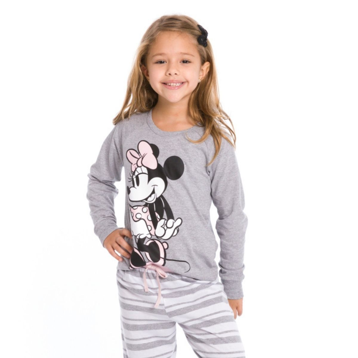 Pijama infantil menina listrado minnie quentinho inverno