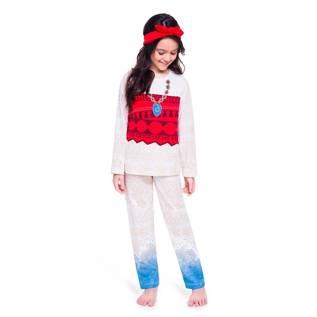 Pijama infantil menina moana um mar de aventuras manga longa