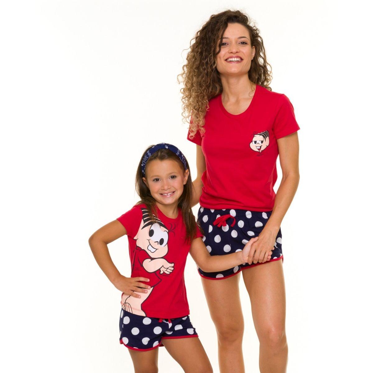 Pijama infantil menina monica c/ manga shortinho bolinha