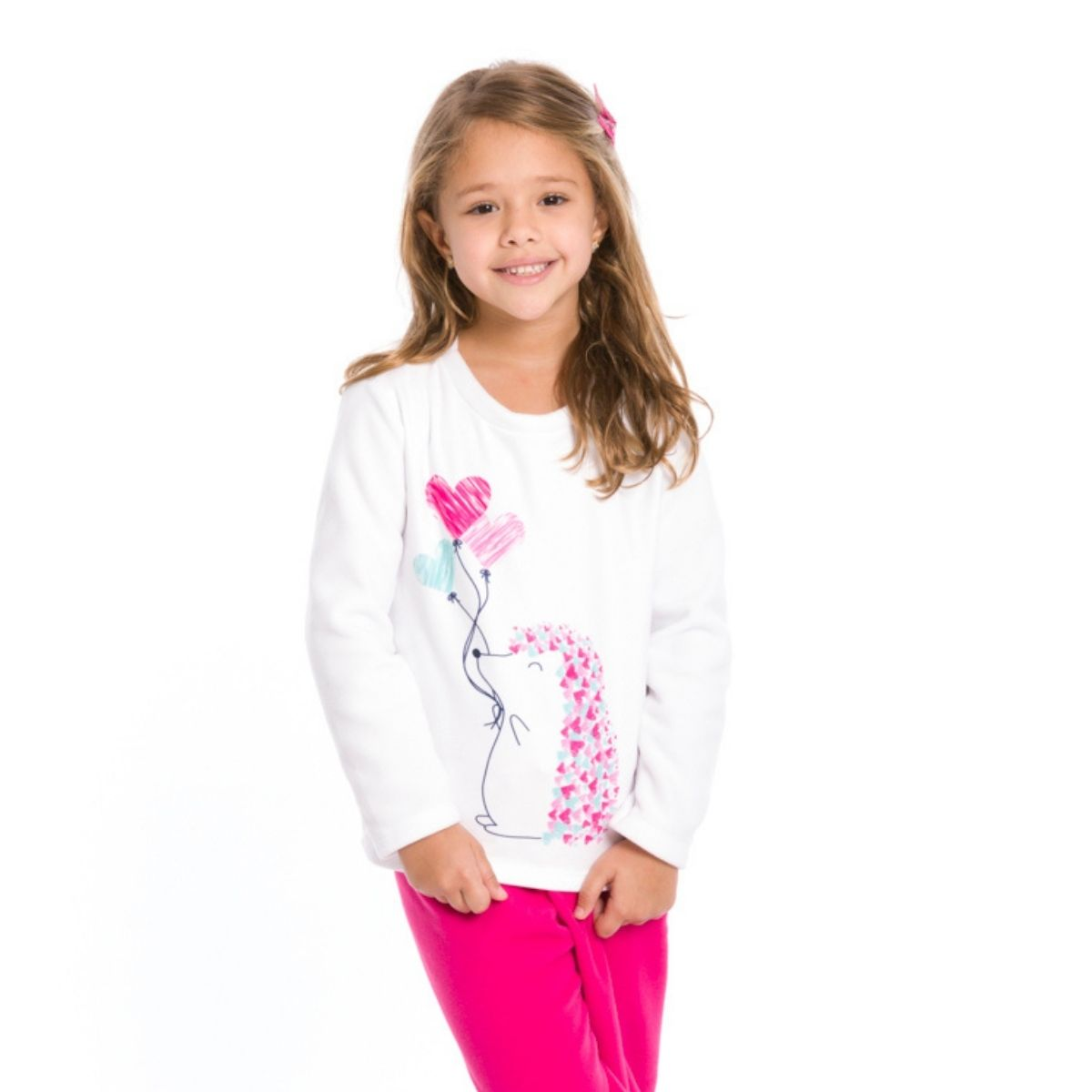 Pijama infantil menina microsoft inverno porco espinho