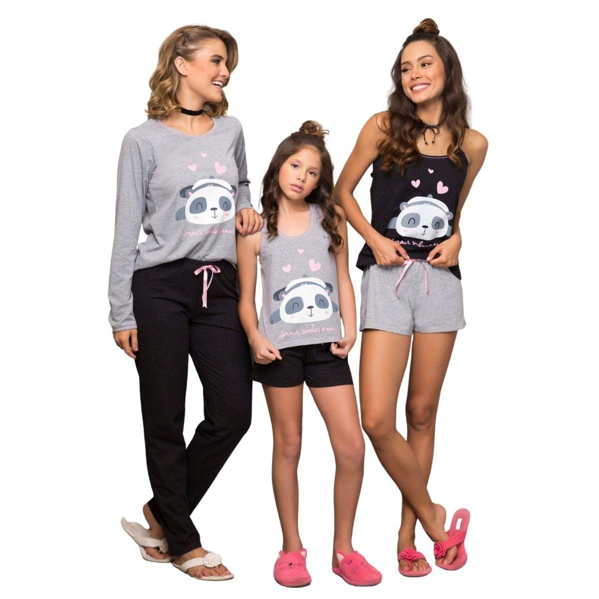 Pijama infantil menina regata short algodão