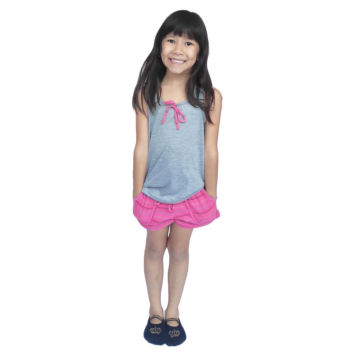 Pijama infantil menina regata short bolso lacinho