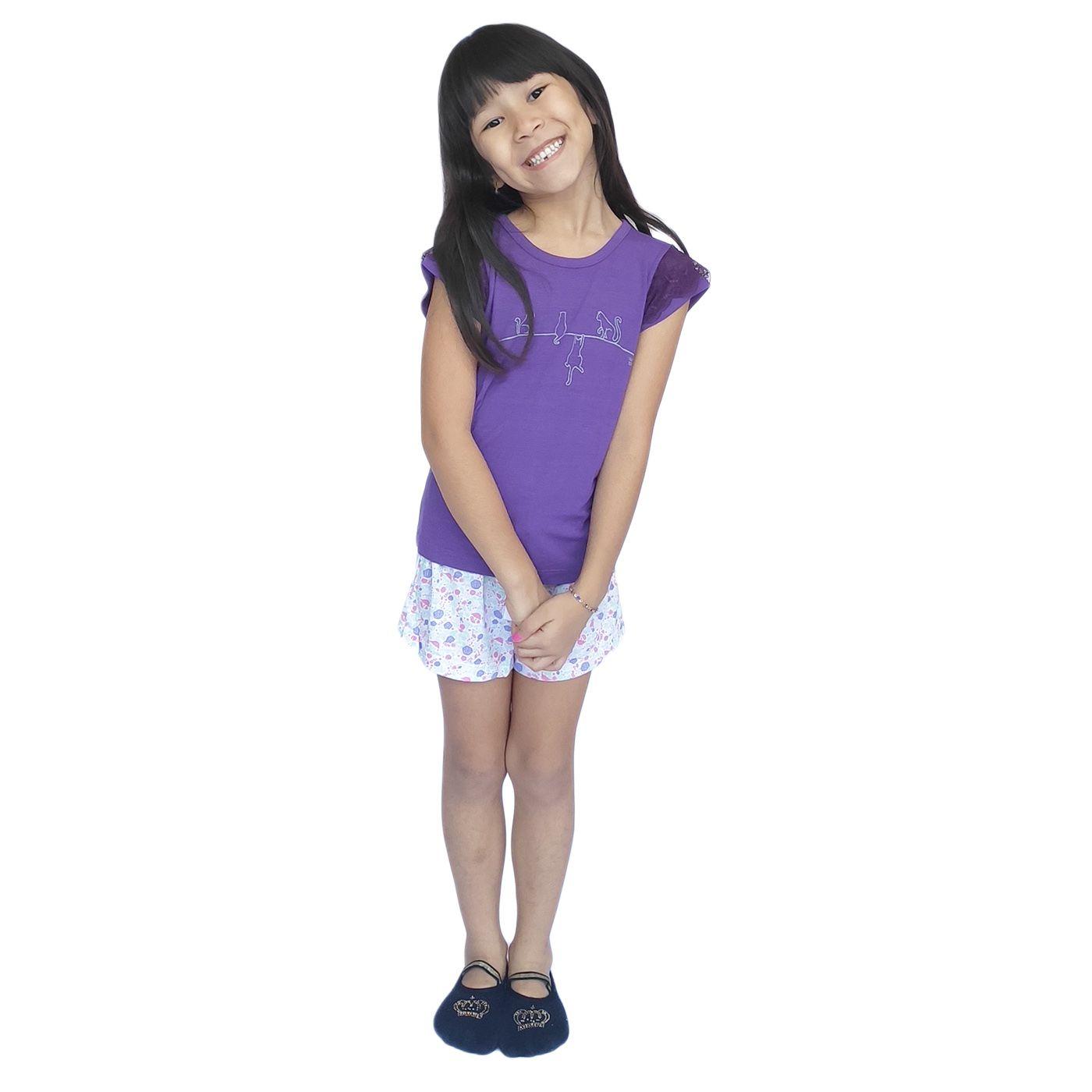 Pijama infantil menina short doll gatinho