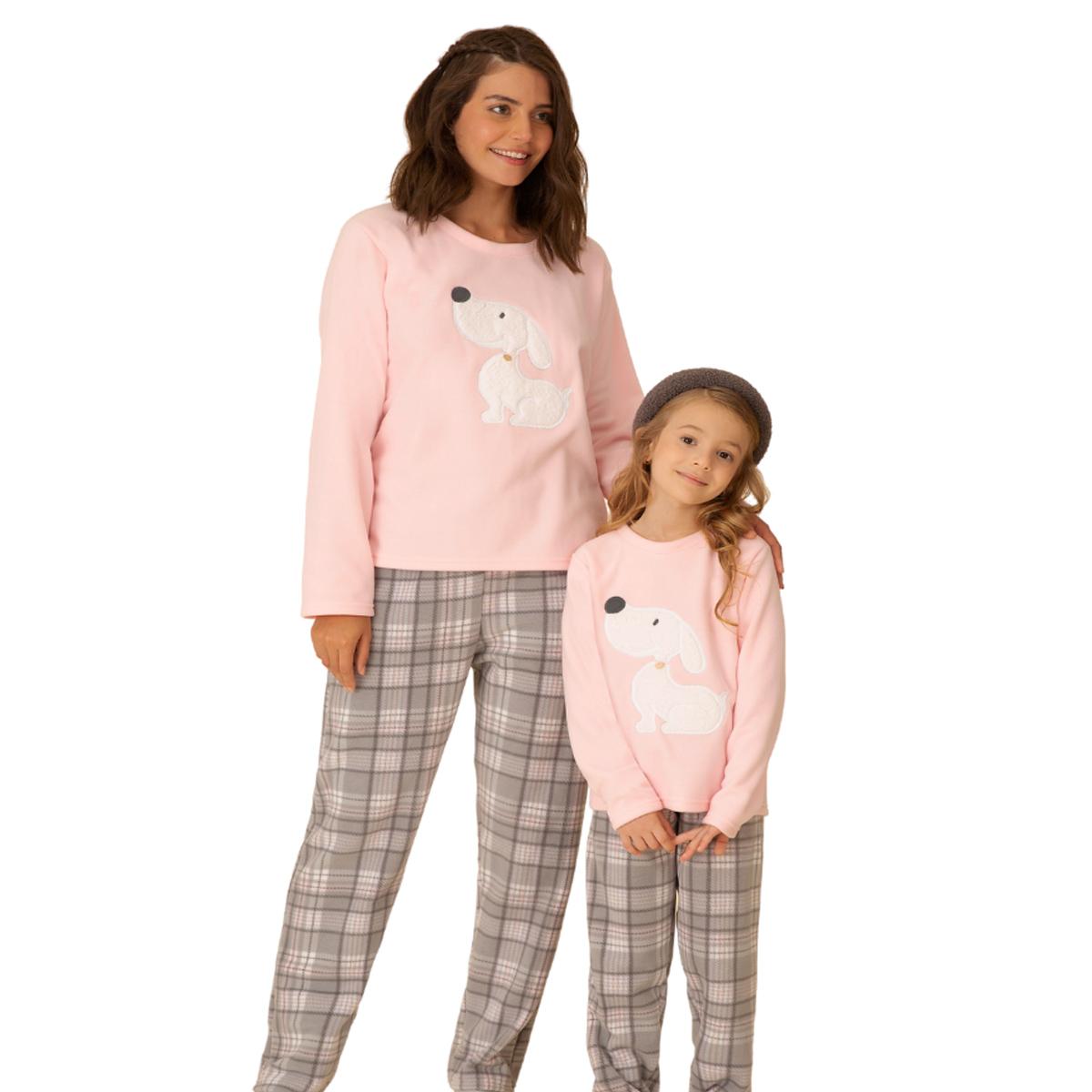 Pijama infantil menina soft quentinho bichinho dog rosa