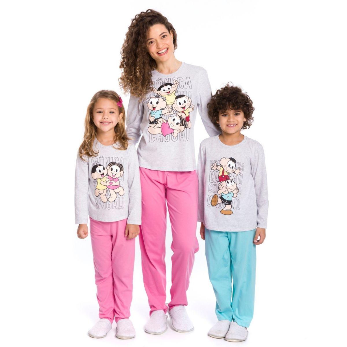 Pijama infantil menina turma da mônica coração quentinho