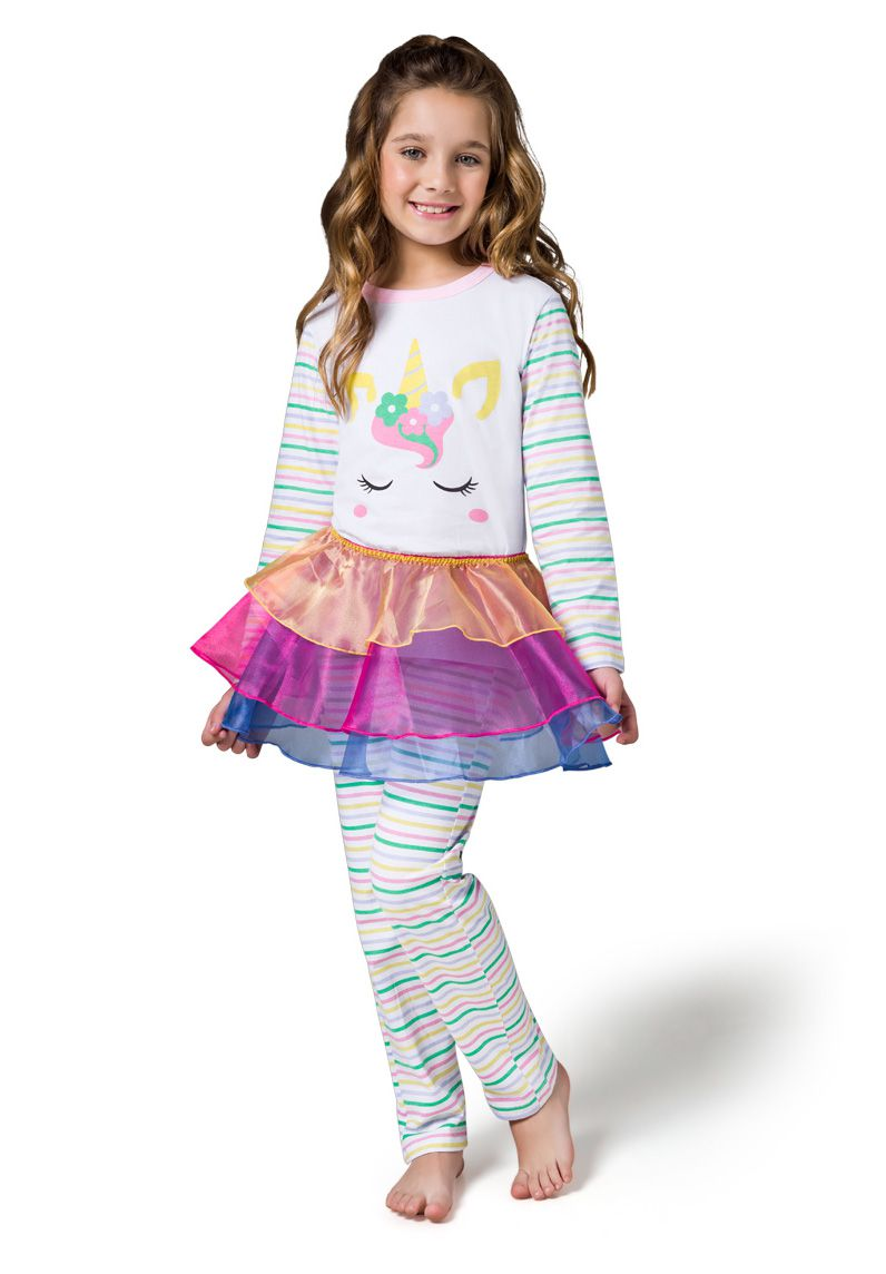 Pijama fantasia infantil menina unicórnio calça com sainha