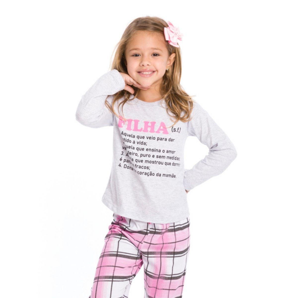 Pijama infantil menina xadrez filha manga longa quentinho