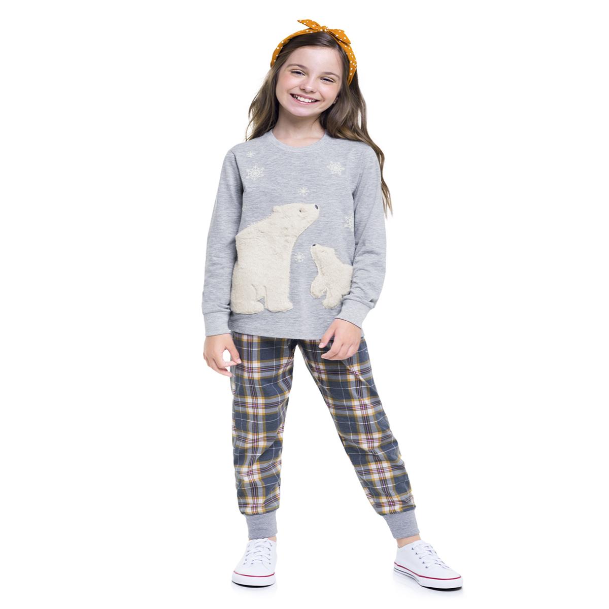 Pijama infantil menina xadrez inverno quentinho filha