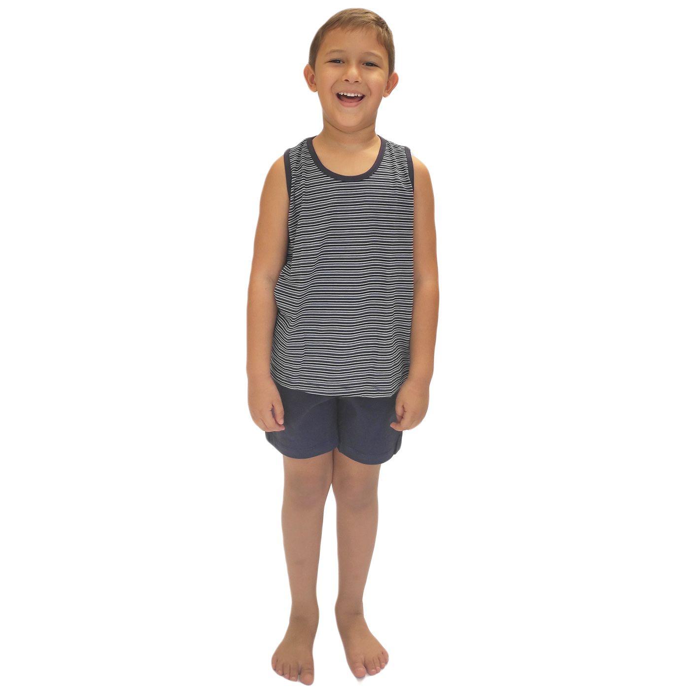 Pijama infantil menino blusa regata listrada algodão