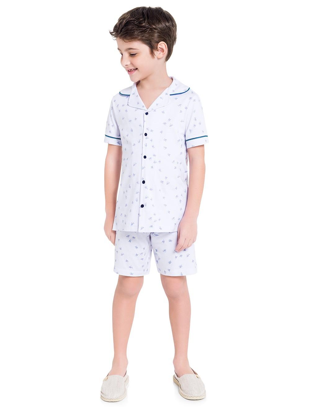 Pijama infantil menino calor blusa gola e botão short fresquinha