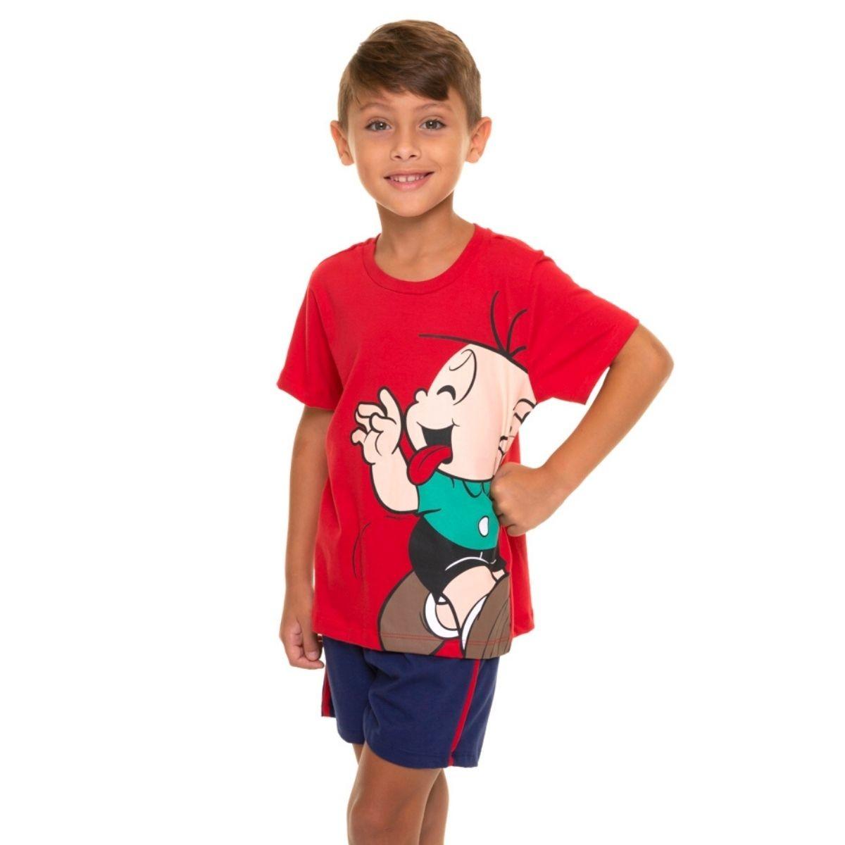 Pijama infantil menino de calor cebolinha turma da monica