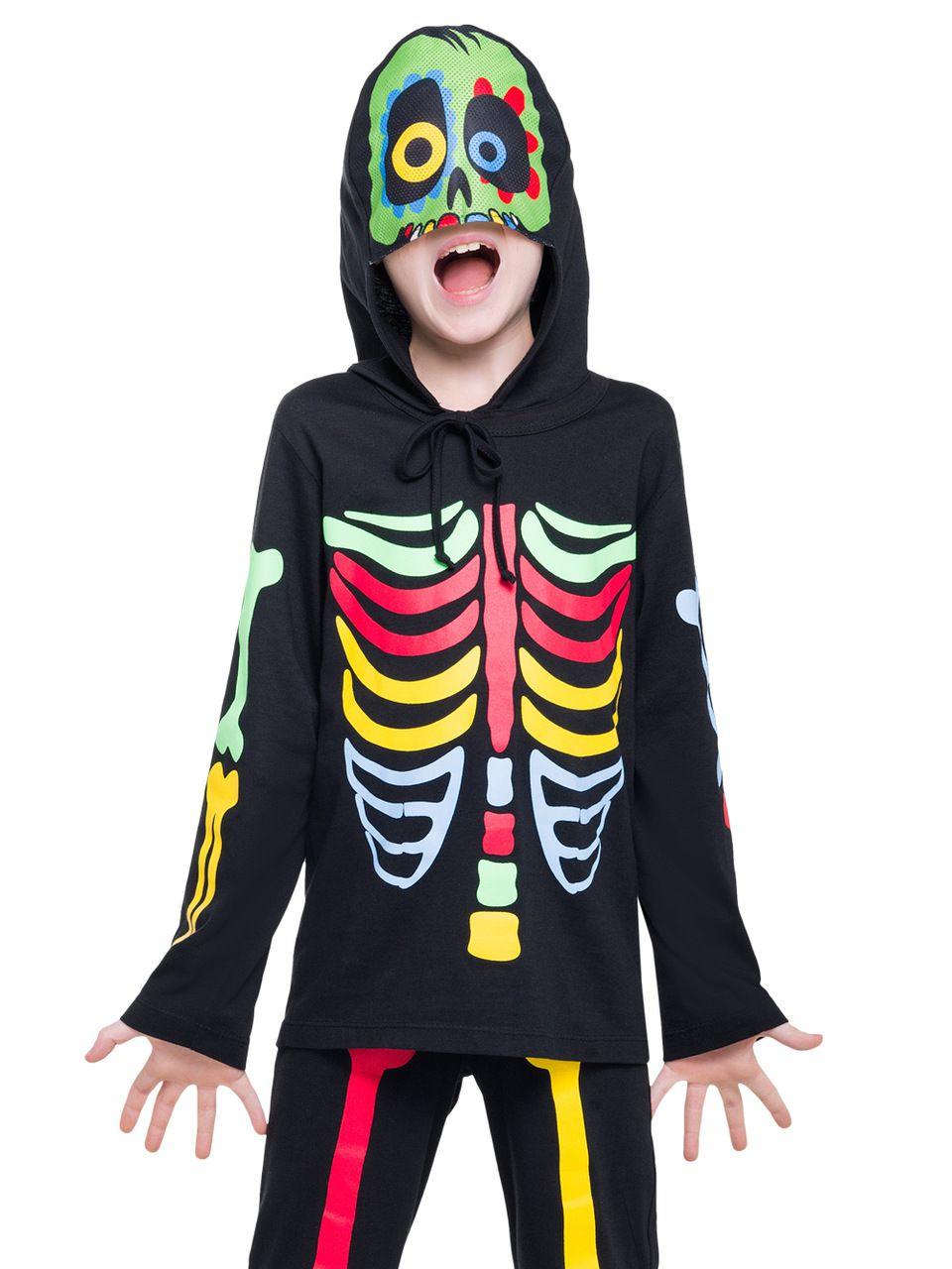Pijama infantil menino esqueleto acompanha capuz
