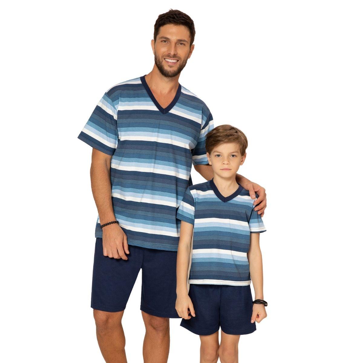 Pijama infantil menino filho manga curta listrado de calor