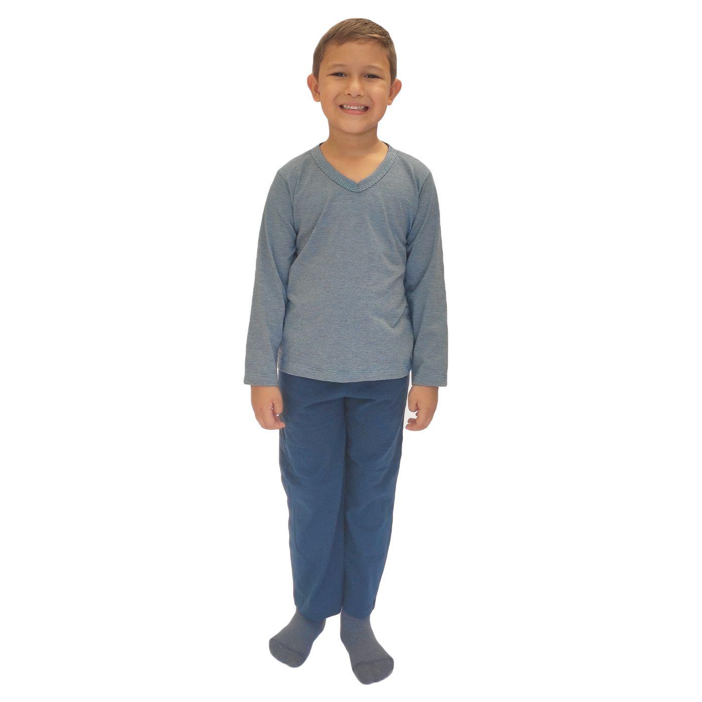 Pijama infantil menino frio calça blusa manga algodão estampado