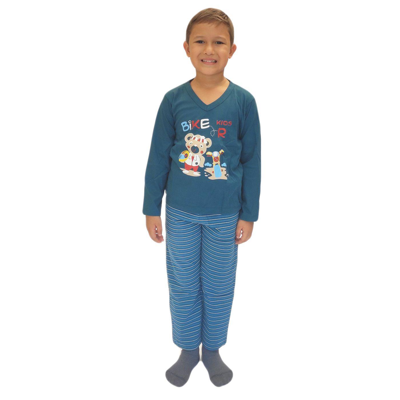 Pijama infantil menino frio calça blusa ursinho algodão