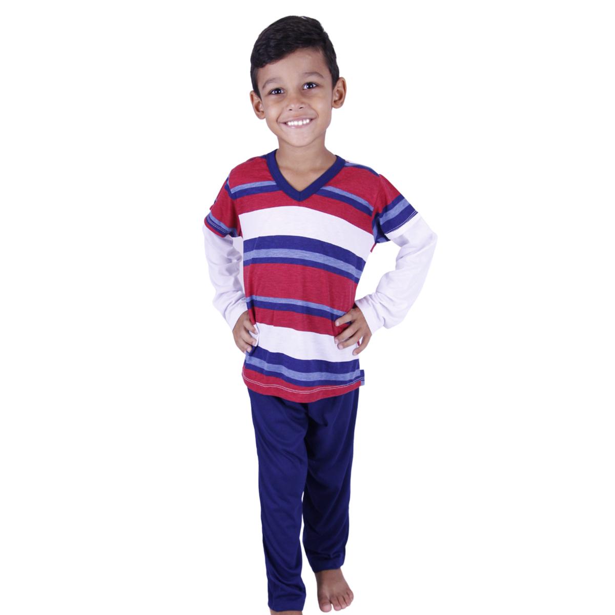Pijama infantil menino frio manga longa listras