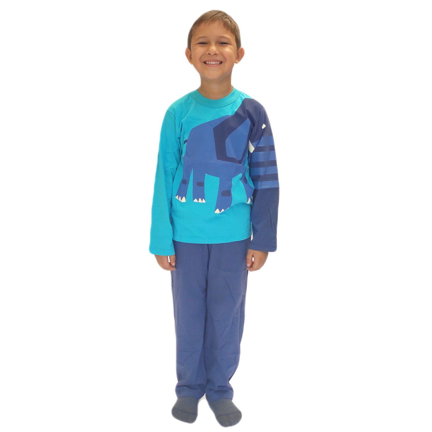 Pijama infantil menino manga longa algodão bicho
