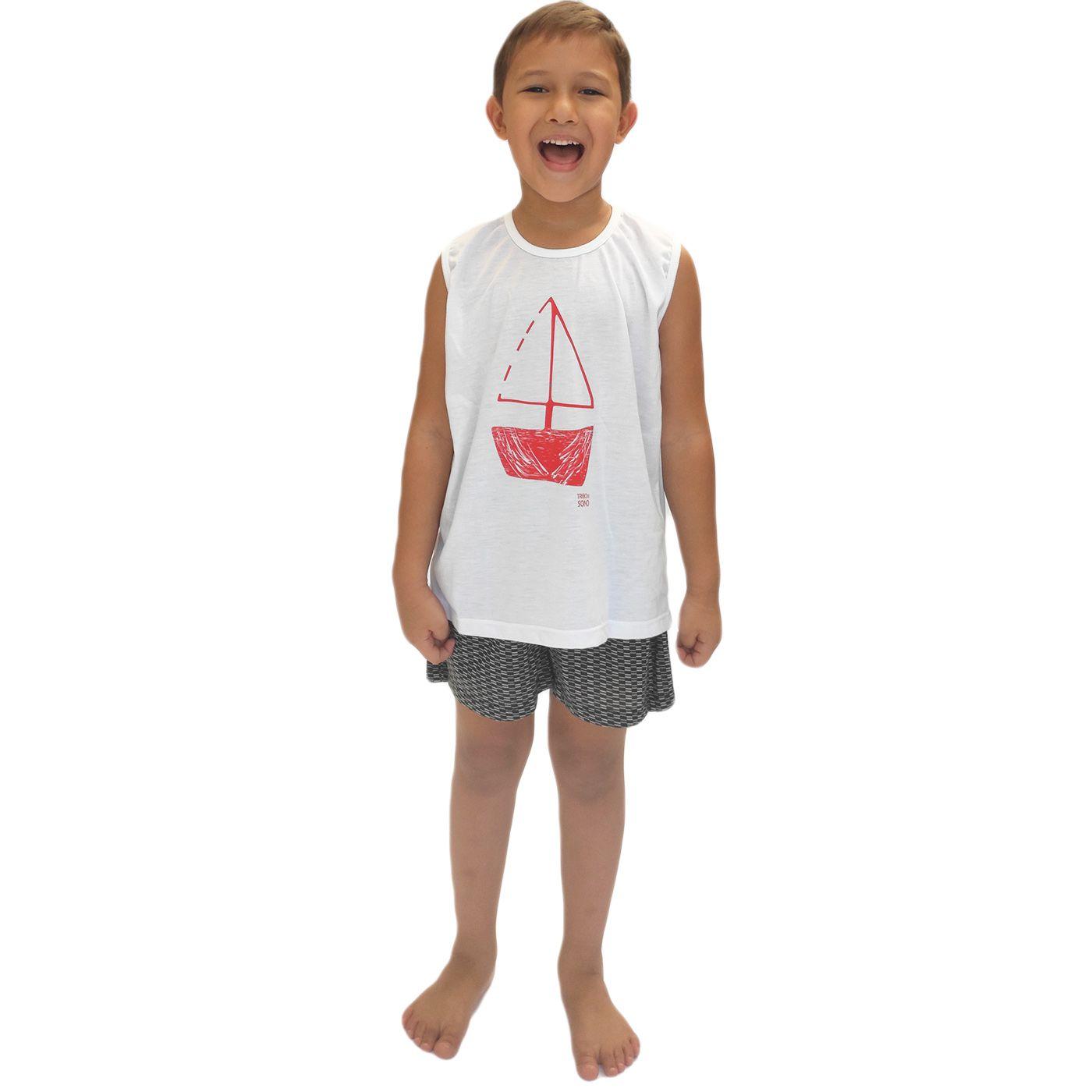 Pijama infantil menino regata barco