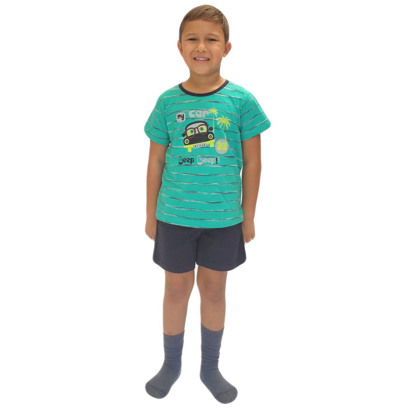 Pijama infantil menino short blusa manga algodão