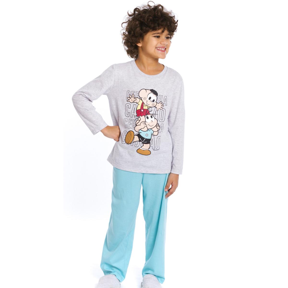 Pijama infantil menino turma da mônica algodão frio