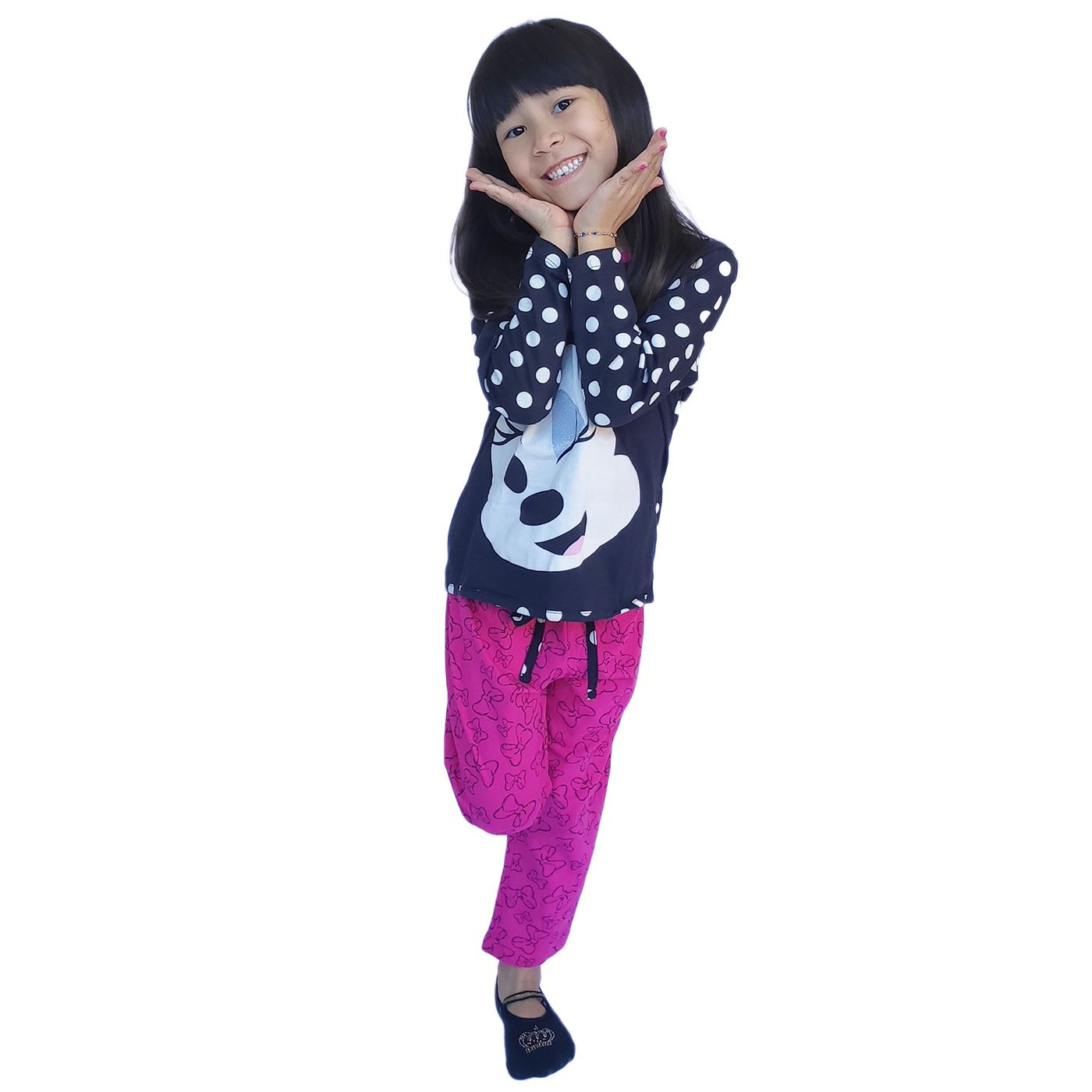 Pijama infantil minnie manga longa disney 100% algodão lupo