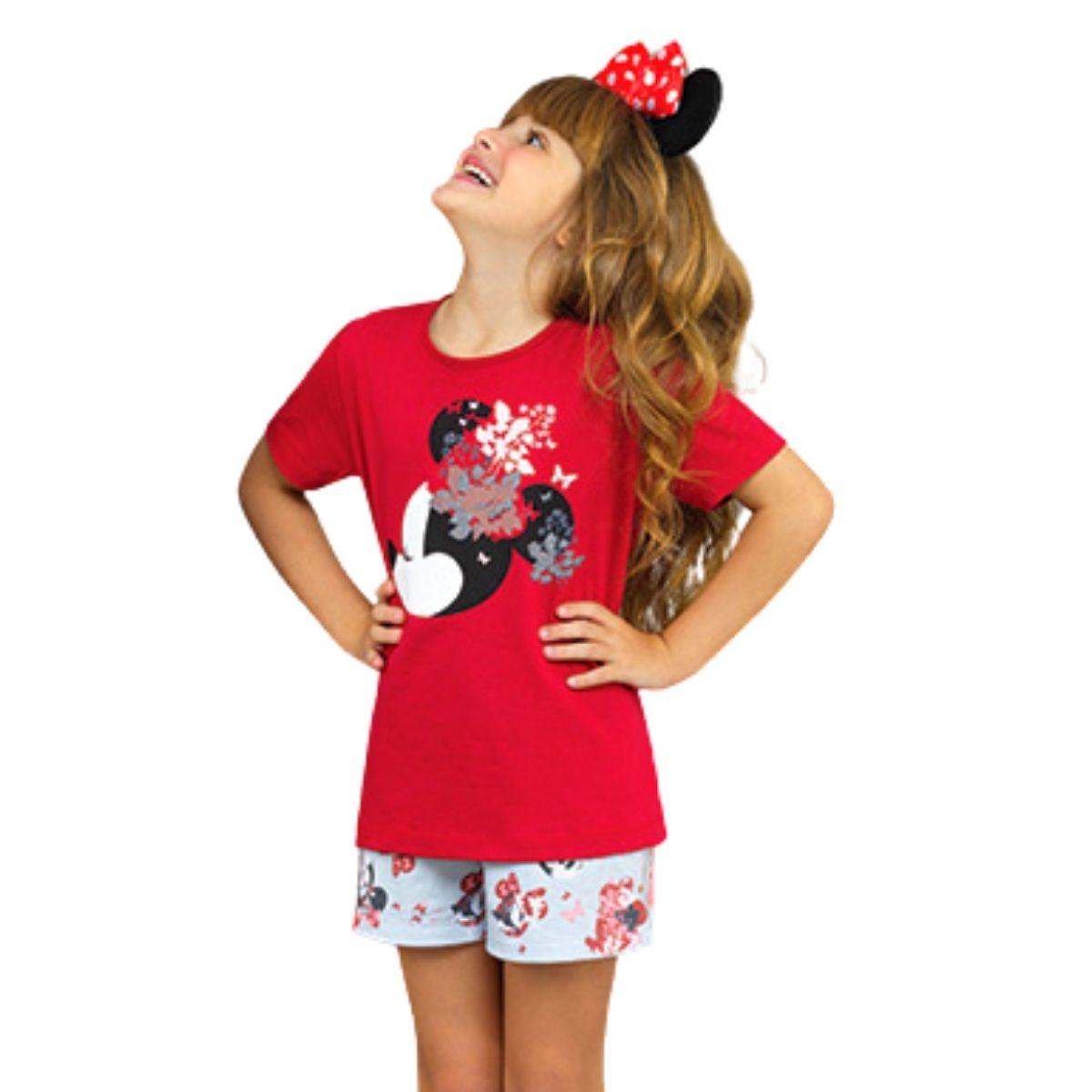 Pijama infantil minnie  short doll algodão filha lupo