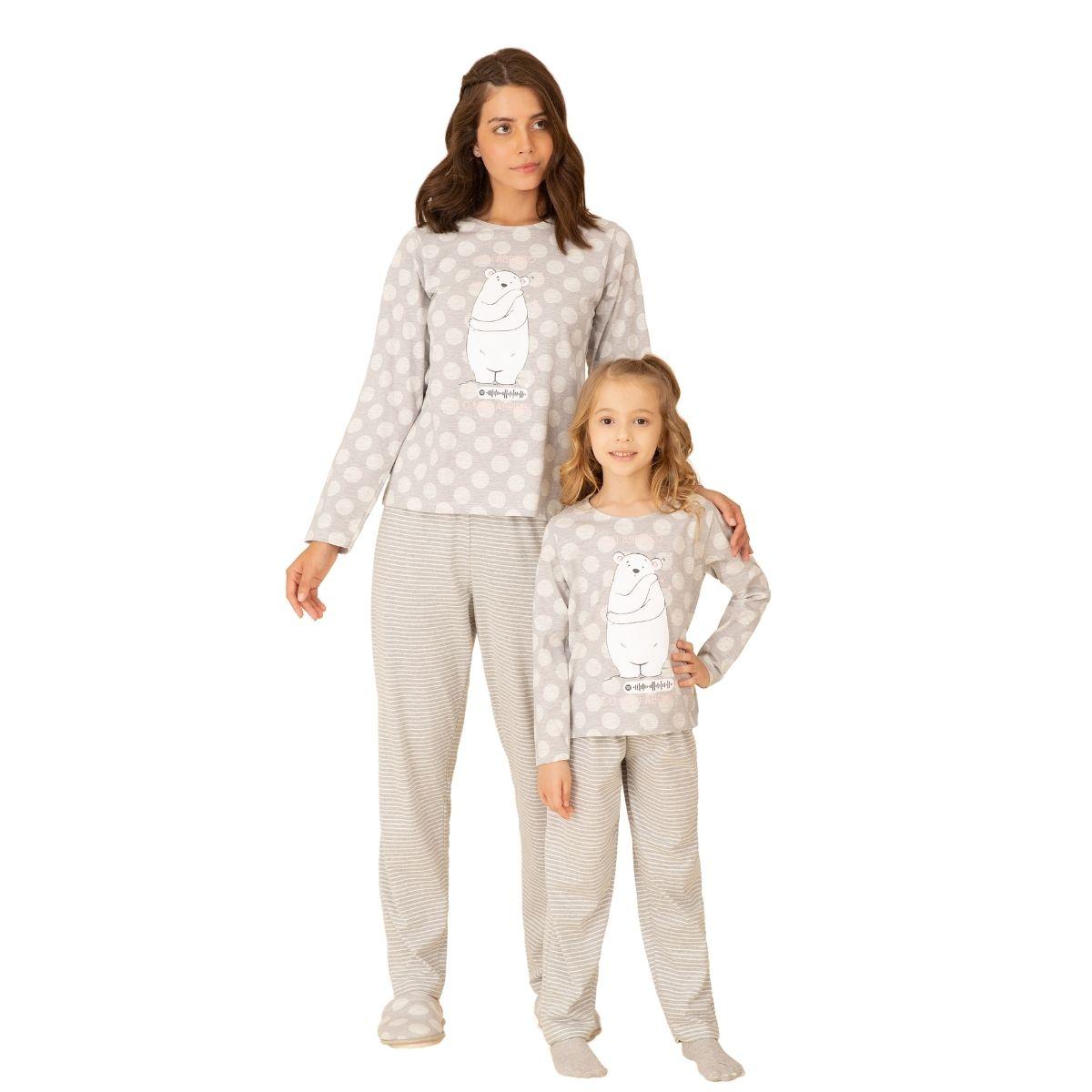 Pijama infantil poa menina urso music listrado malha algodão