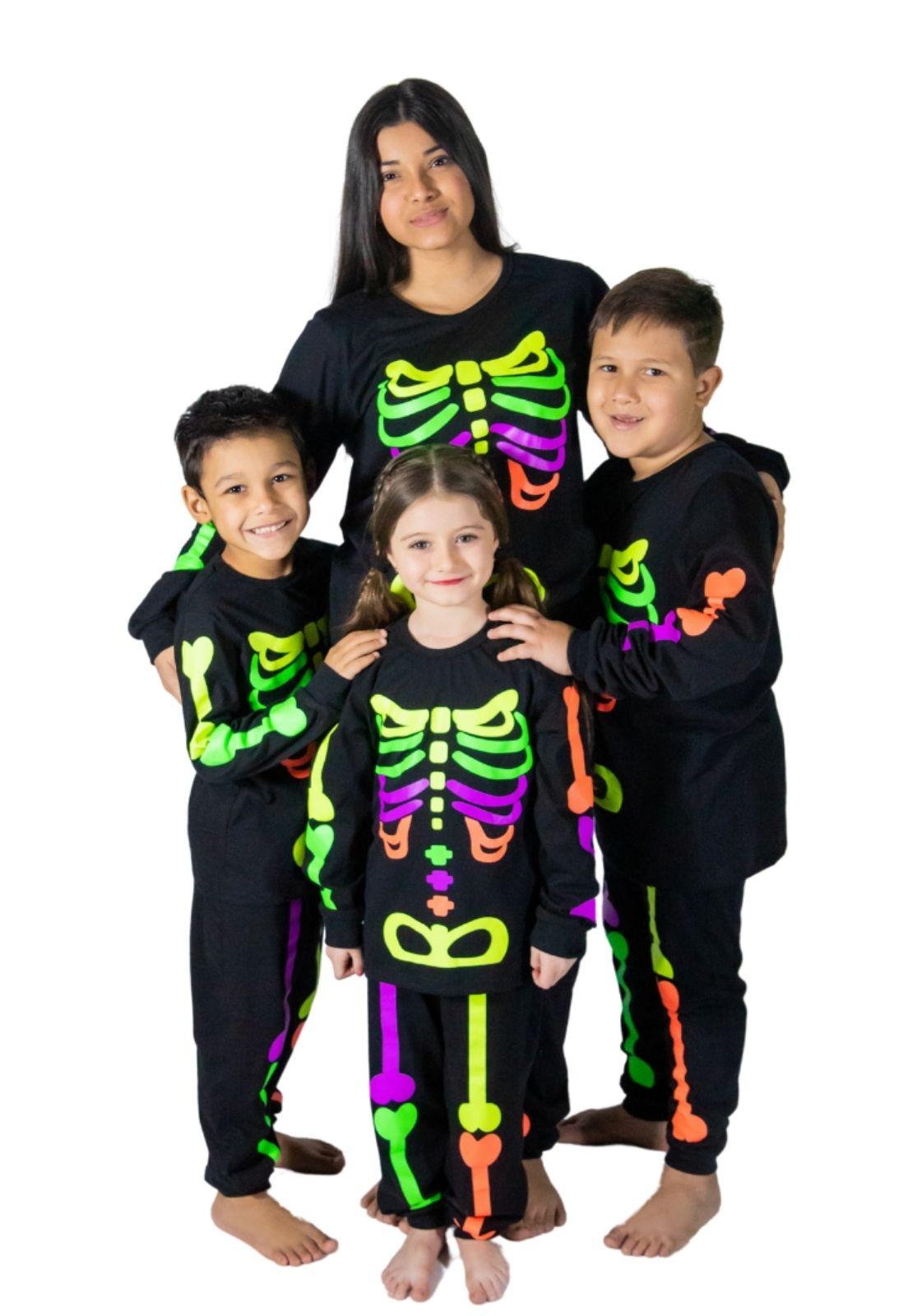 Pijama infantil unissex esqueleto brilha escuro algodão