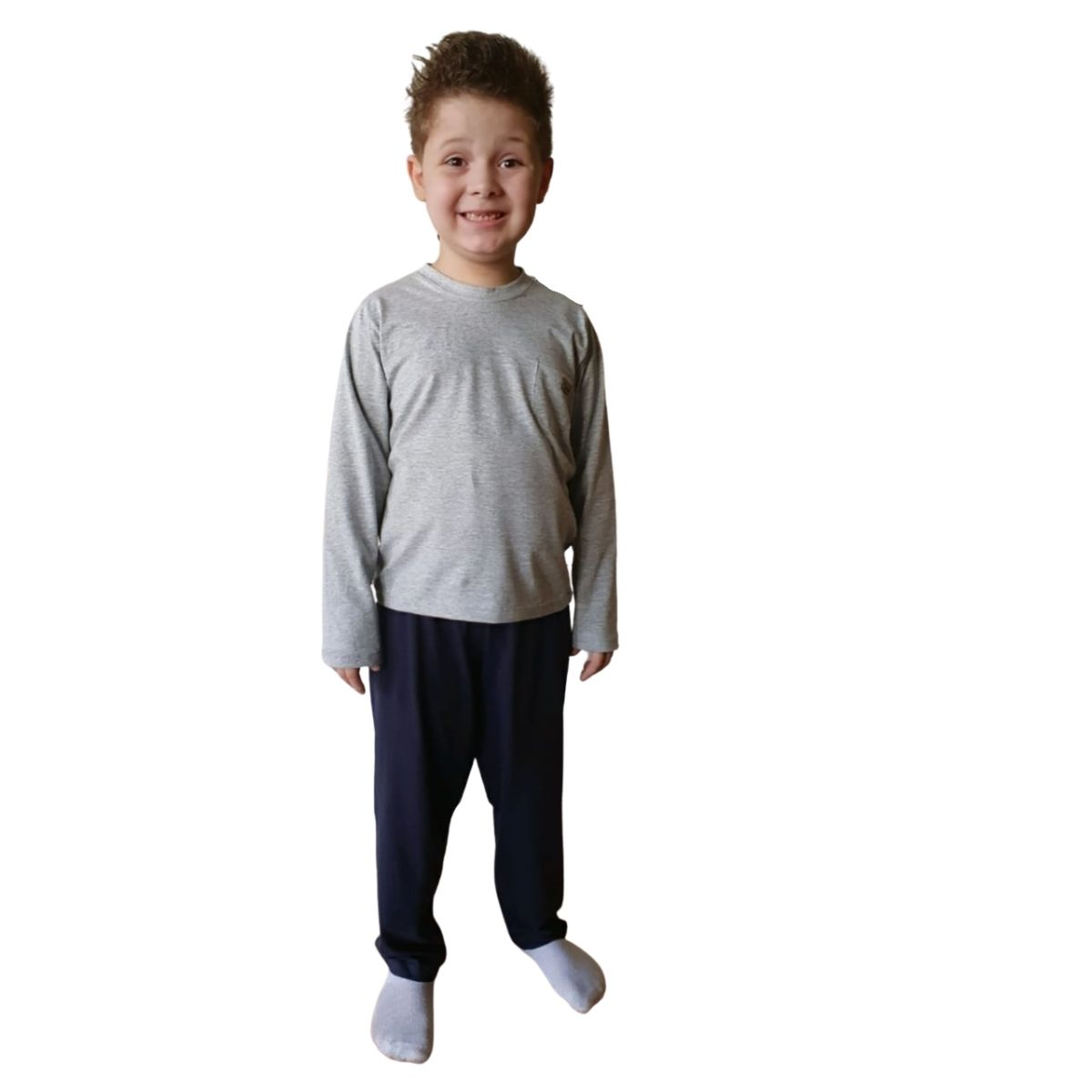 Pijama inverno infantil filho camiseta com bolso calça lisa