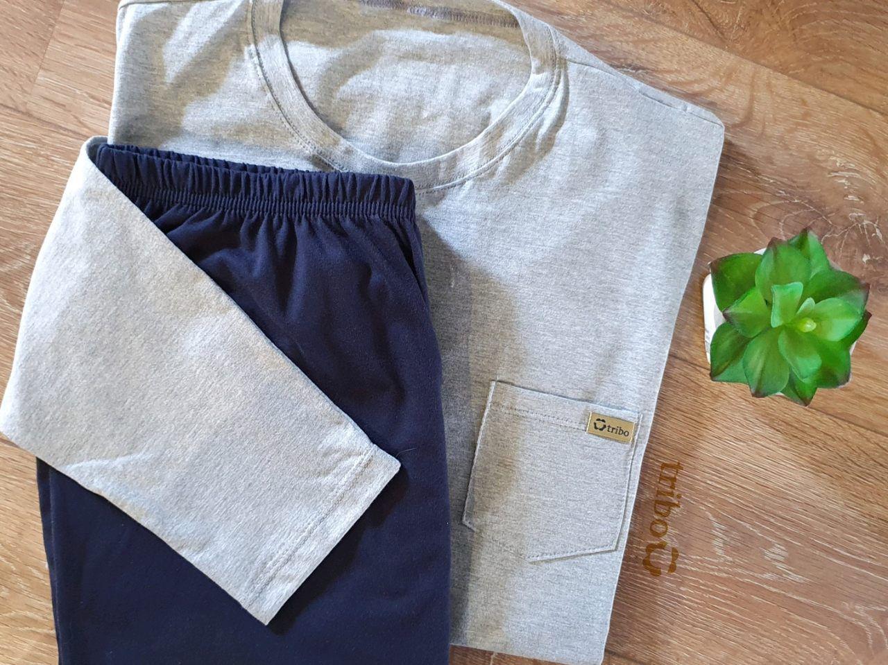 Pijama inverno masculino pai camiseta com bolso calça lisa