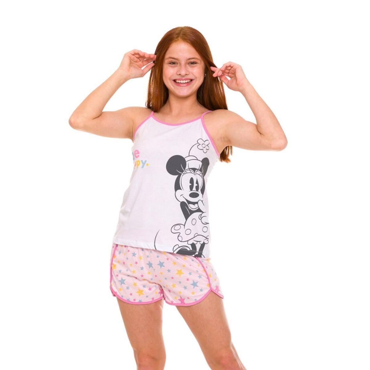 Pijama juvenil da minnie alcinha lachinho fresquinho verão