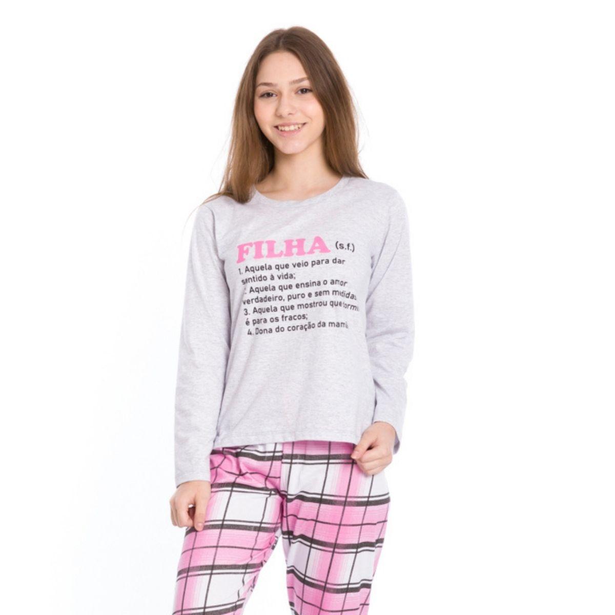 Pijama juvenil inverno menina xadrez filha quentinho